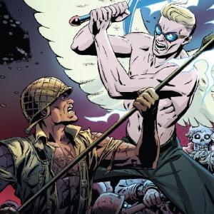 """Originalmente publicado em 2004 pela DC Comics, """"O Esquadrão da Luz"""" (G. Floy, 2016) viu os direitos de publicação regressarem ao seu autor Peter J. Tomasi, o qual em 2014 tratou de o fazer regressar às prateleiras, agora através do selo Dark Horse. É a partir desta edição mais recente que nos surge a edição portuguesa pela G. Floy, uma editora que continua a demonstrar estar bem atenta a um panorama de BD norte-americana mais ligado à fantasia e à ficção-científica, adicionando agora, ao seu leque de livros da Marvel e da Image Comics, este da Dark Horse. A acção tem início algures numa floresta belga, nos finais de Dezembro de 1944, quando um grupo de soldados americanos defronta um grupo de soldados alemães, que se revela muito mais perigoso do que parecia à primeira vista. Esta pequena facção de soldados nazis, trata-se na realidade dos Nephilim, descendentes entre humanos e os seus respectivos anjos vigilantes – os Grigori. Esta nova linhagem foi sempre condenada por Deus que, ao falhar na sua destruição acabou por unir os Nephilim e Grigori sobreviventes numa perpétua guerra contra o Seu reino. Esta é uma contenda entre o céu e os seus pecados, não existem demónios aqui, apenas anjos alados que defendem ideais diferentes, enfrentando-se continuamente nesta nossa Terra, acabando por envolver sempre os seus habitantes. É aqui que entra este grupo de soldados americanos, os quais irão desempenhar um papel preponderante ao serem recrutados para o exército de Deus, para criarem um esquadrão da luz. Peter J. Tomasi demonstra aqui uma preocupação em misturar elementos históricos da segunda grande guerra com os da mitologia judaico-cristã, tais como os Nephilim ou o centurião que matou Cristo com a sua lança (a última chaga) e, agora, lidera este esquadrão da Luz. São elementos interessantes, mas muito pouco explorados pelo autor que rapidamente se foca, quase em exclusivo, na componente da batalha entre os dois lados inimigos, tanto na sua preparação como execução. S"""