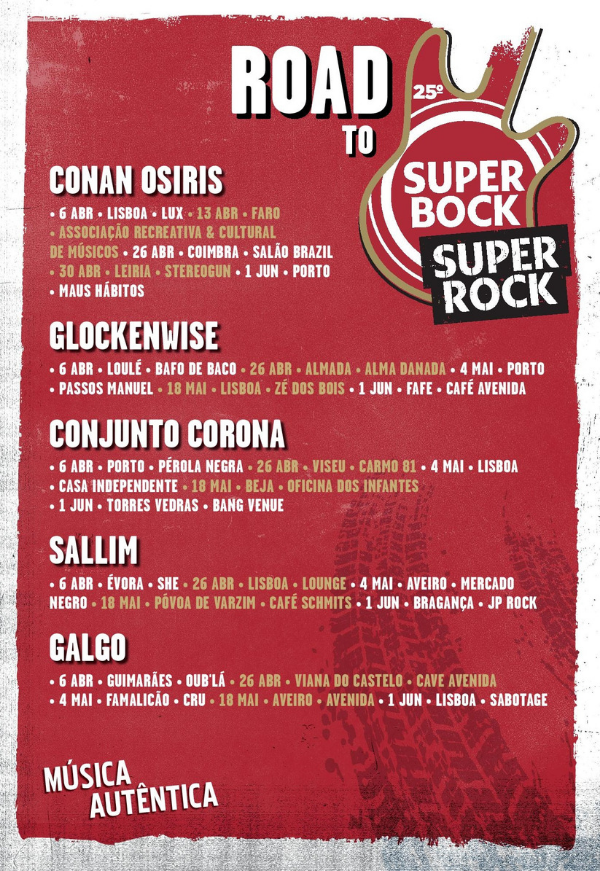 Super Bock Super Rock, Super Bock Super Rock 2019, Conan Osiris, Conjunto Corona, Galgo, Glockenwise, Sallim, Christine and The Queens, Shame, Roosevelt, Ezra Collective, Gorgon City , Deus Me Livro